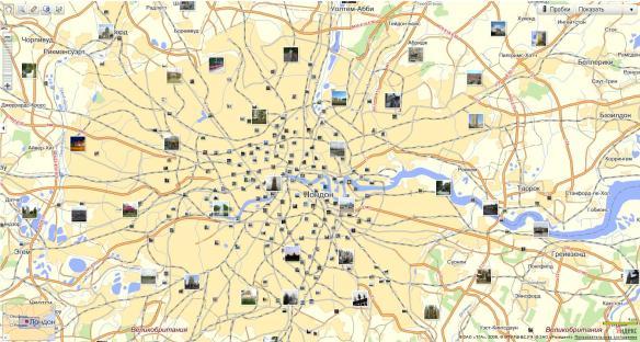 Лондон на Яндекс карте