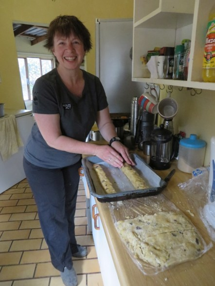 Lizzie baking short bread with almond and chocolate chunks