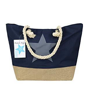 """Strandtasche - Farbe wählbar, """"Stern"""" 54x37cm mit Reißverschluss"""