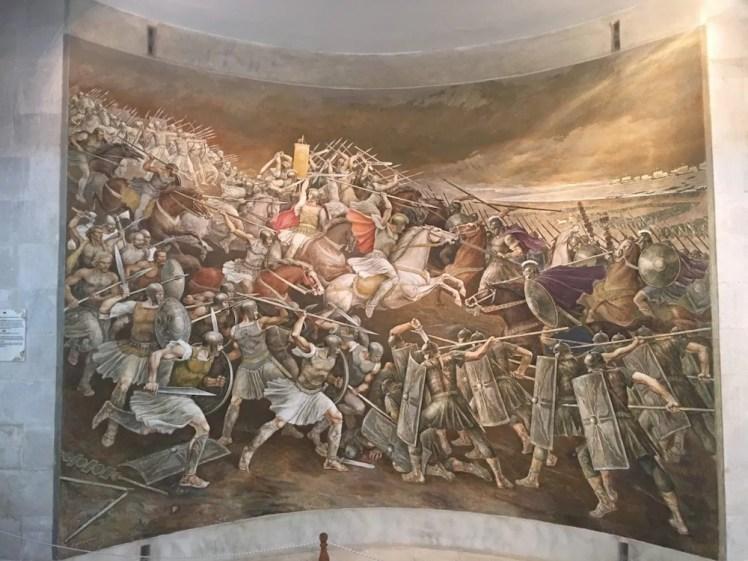 muurschilderij die in het museum van Kruja hangt. zwaard gevecht skanderbeg