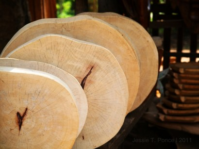 Polished jackfruit tree trunks being sold as chopping boards