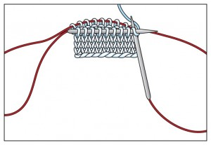 How Your Magic Loop Knitting will look as it starts to make a seamless tube