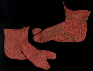 Nalebinding Socks dating from around 300 AD. Photo Credit: Victoria & Albert Museum