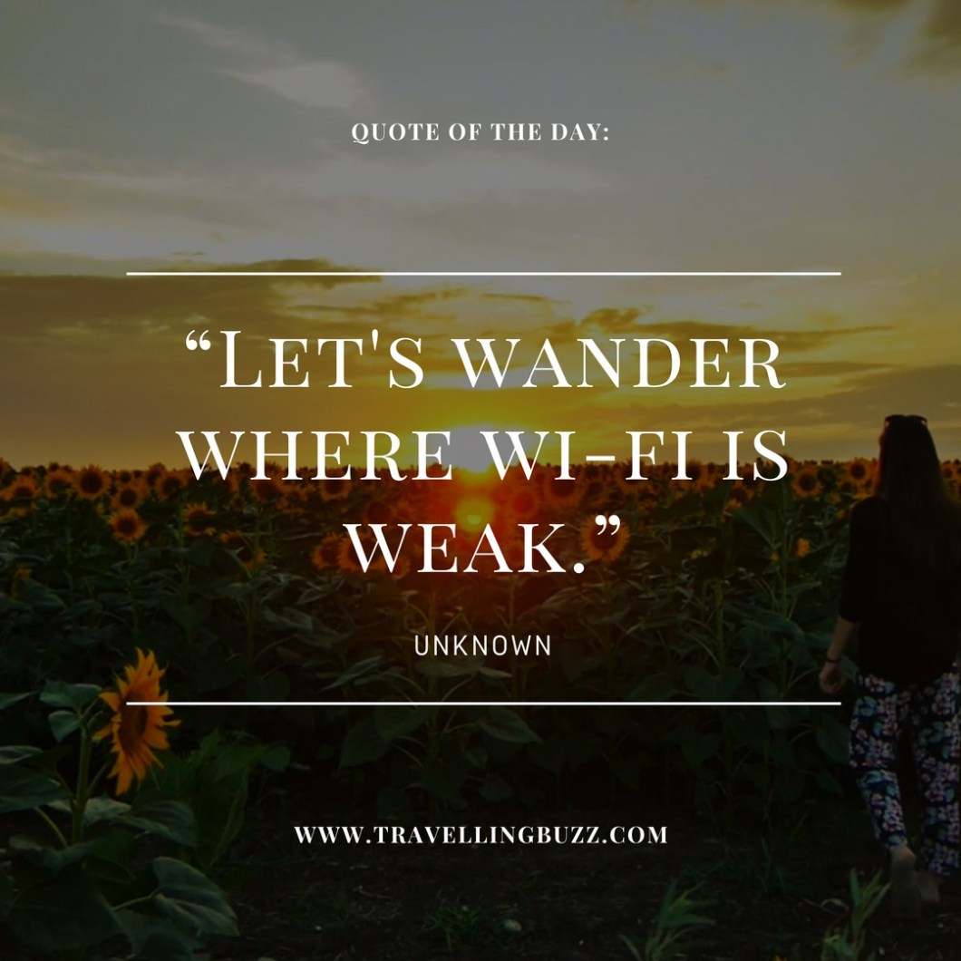 Travel quote of the day - Let's wander where Wi-Fi is weak.