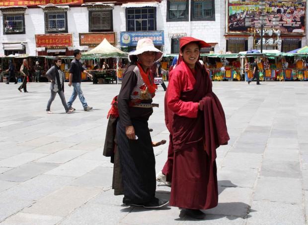 Local tibetan women on the Barkhor in Lhasa, Tibet