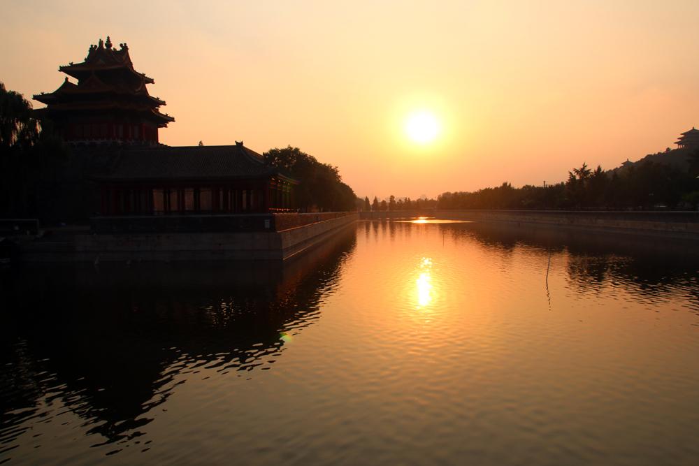 Verbotene Stadt bei Sonnenuntergang Peking China Asien