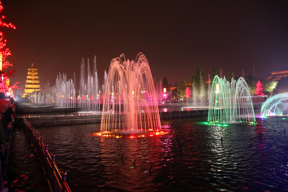 Wasserfontänen-Show Große Wildganspagode Xi'an China