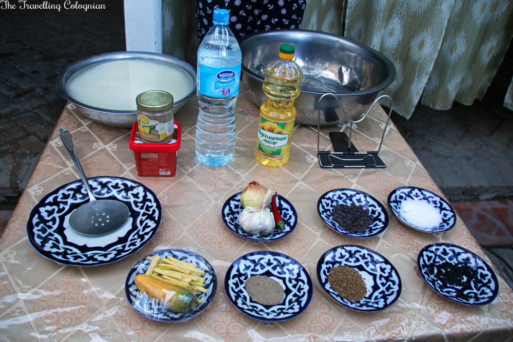 The Jewels of Samarkand - Plov cooking demonstration and dinner at a local Uzbek family's house - spices and vegetables for the Plov