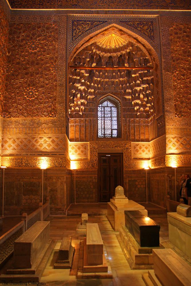 The Jewels of Samarkand - Gur-E-Amir Mausoleum - Cenotaphs in the golden interior