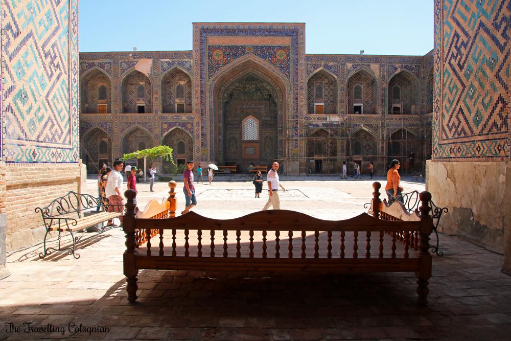 The Jewels of Samarkand - the Registan - Courtyard of the Sher Dor Medressa