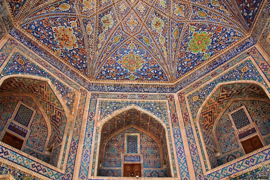 The Jewels of Samarkand - the Registan - Detail at the entrance portal of the Tilla Kori Medressa