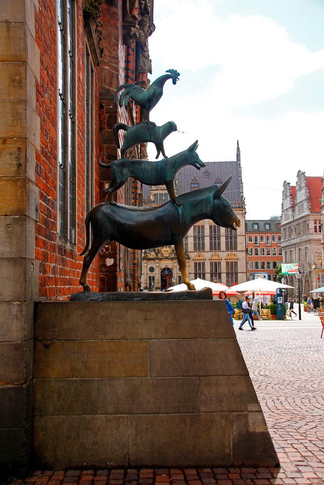 Die Bremer Stadtmusikanten sind das Wahrzeichen von Bremen