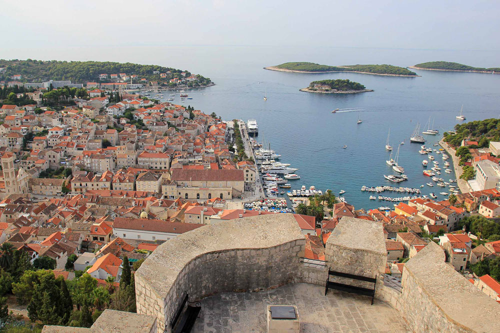 View of the historic old town of Hvar Island
