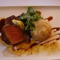 Margaret River wagyu beef medallions, potato and celeriac gratin, manjimup truffled wild mushrooms and sprout leaves sandalford estate swan valley