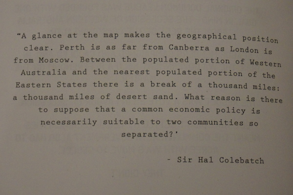 The Dominion League Bar Perth - Sir Hal Colebatch Quote