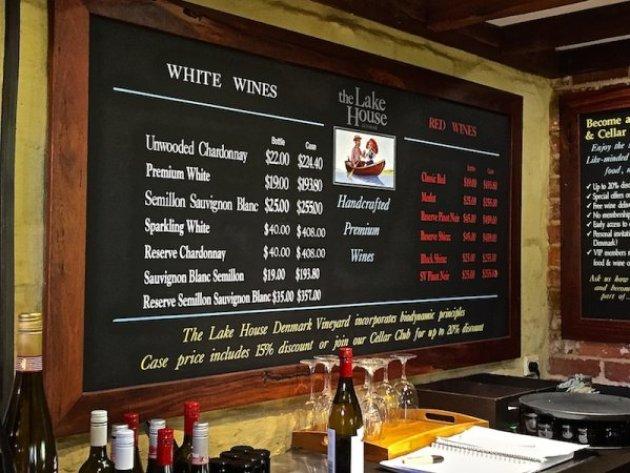 The Lake House Denmark - Wine List