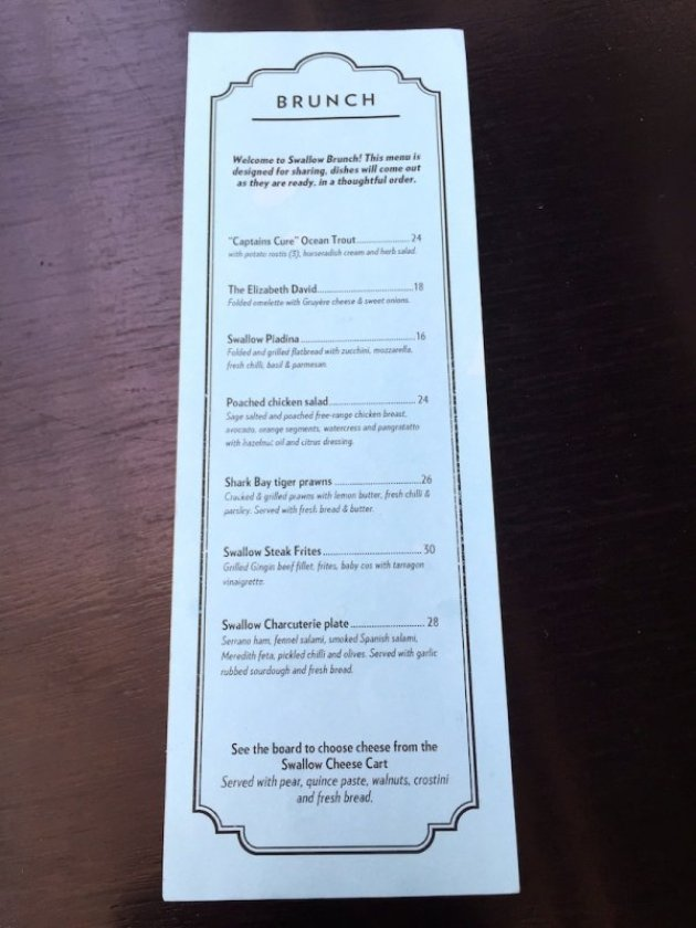 Swallow Bar Brunch Menu