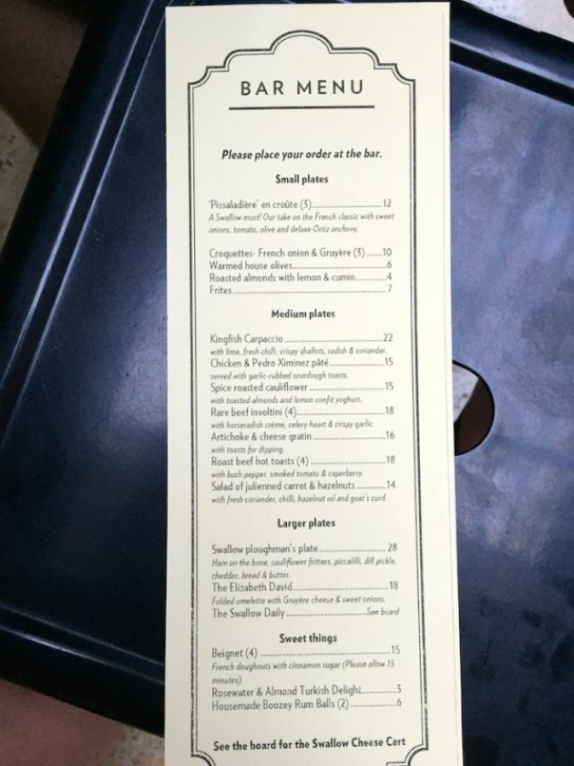 Swallow Bar Food Menu Maylands