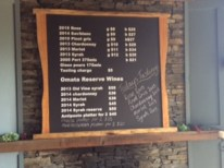 Omata Estate Wine Menu