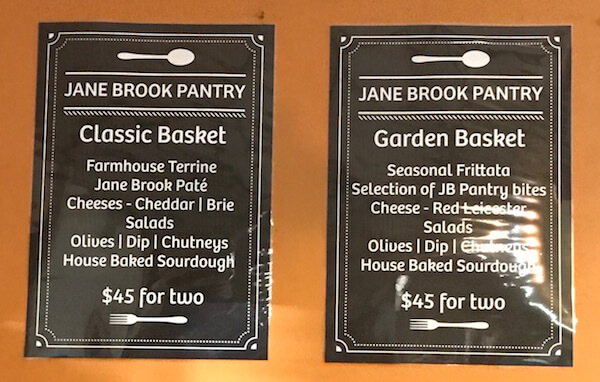 Jane Brook Winery Pantry - Lunch Menu - Swan Valley