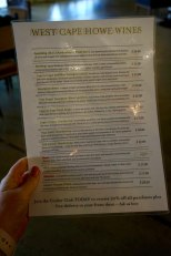 White Wine Tasting List - West Cape Howe Wines