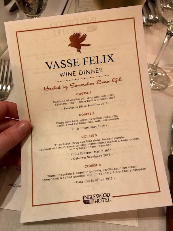 Close Up of Menu at the Vasse Felix Wine Dinner at the Inglewood Hotel