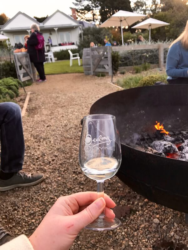 Wine Tasting by the fire pit at Basils Farm - Bellarine Wineries