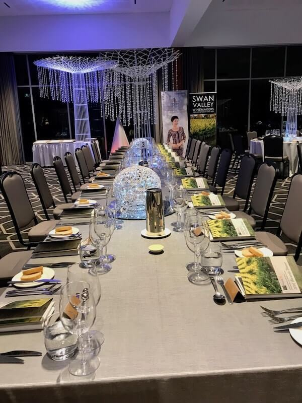 Table setting at the Swan Valley Wine Show 2018