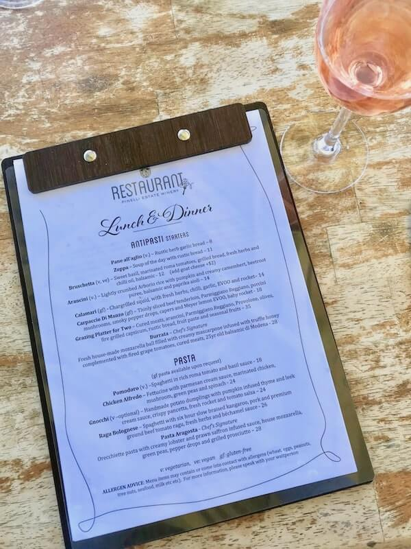 Pinelli Winery Restaurant Menu - Swan Valley Perth
