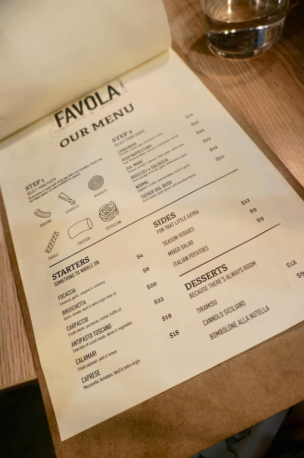 Food menu at La Favola Newtown Sydney