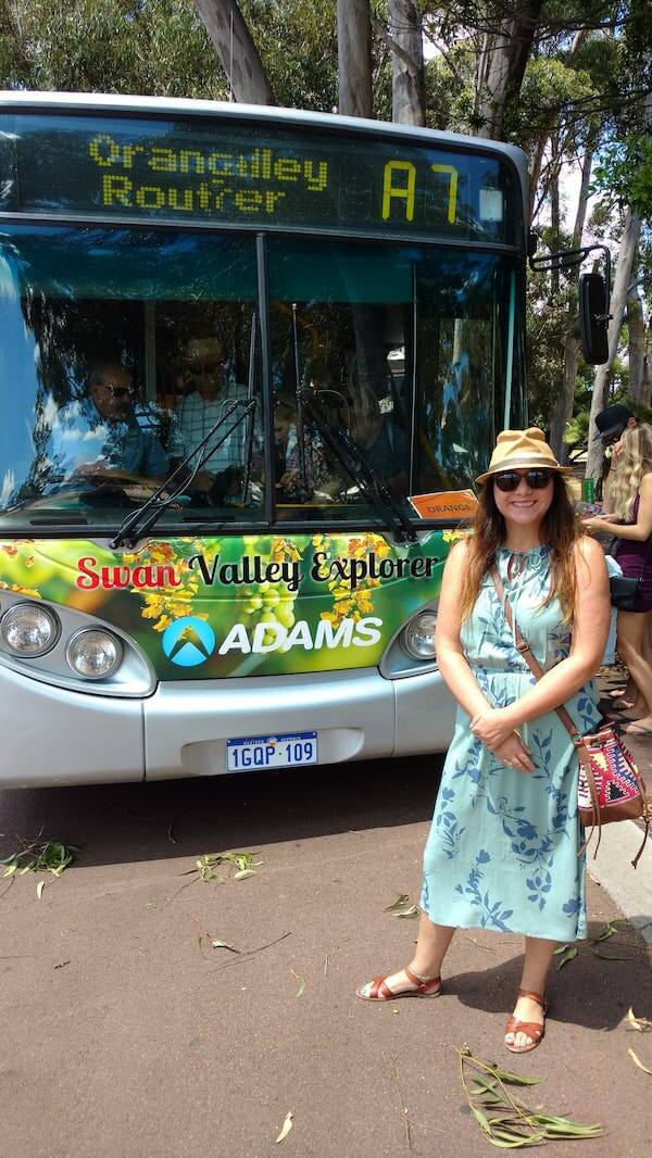 Nicola Heyes with Swan Valley Explorer Bus