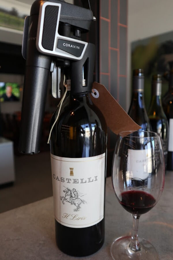 bottle of the castelli il liris using a coravin gas device on top