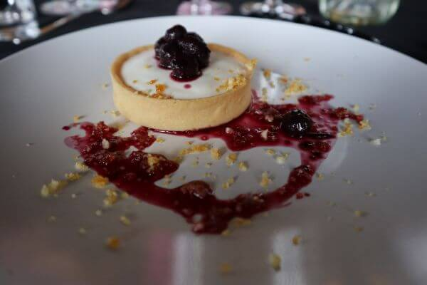 edengate blueberry tart over the moon yoghurt salted macadamia paline at the galafrey wines long table lunch