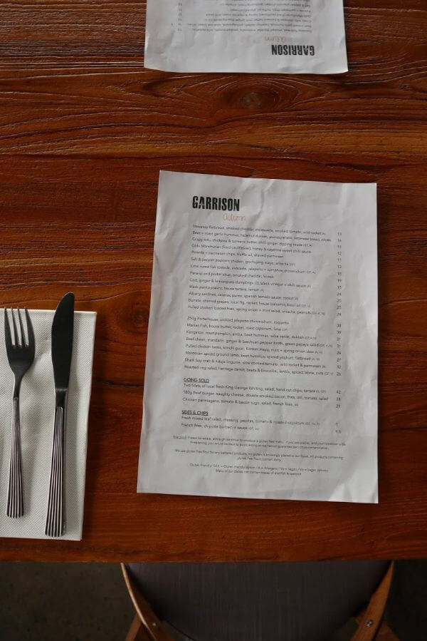 food menu at garrisons
