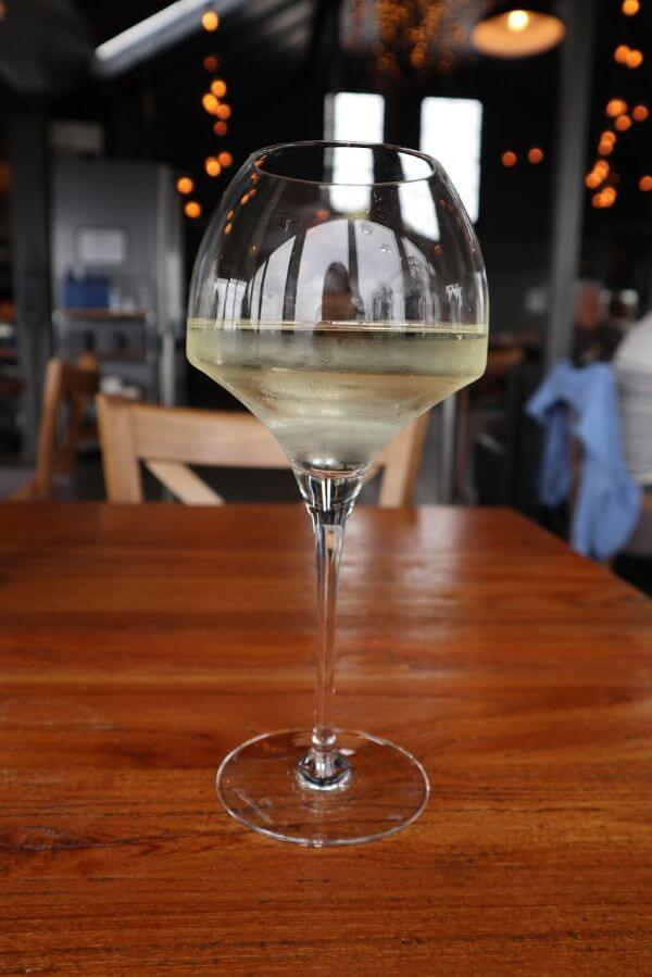 large glass of dukes 2018 magpie hill riesling at garrisons in albany