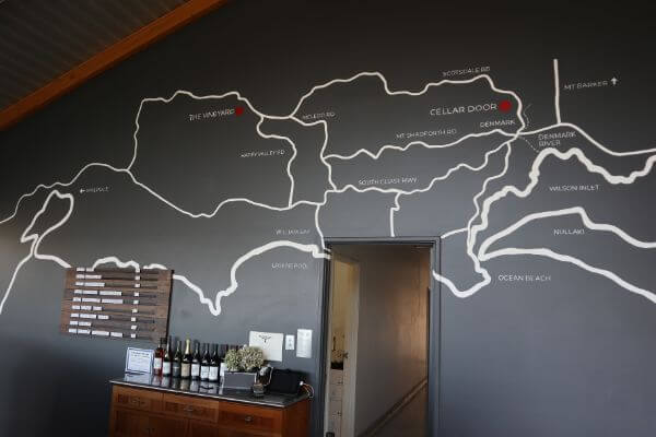 map denmark on the wall at silverstream wines on scotsdale road denmark wine region