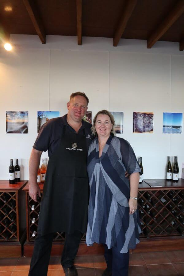 nigek rowe and kim tyrer at the galafrey wines long table lunch