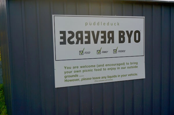 Reverse BYO at Puddleduck Vineyard - Wineries Tasmania