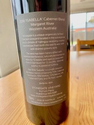 Stonegaze Vineyard 2016 Isabella Cabernet Blend - Margaret River - Back Label