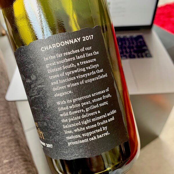 Distant South 2017 Chardonnay Tasmania Back Label