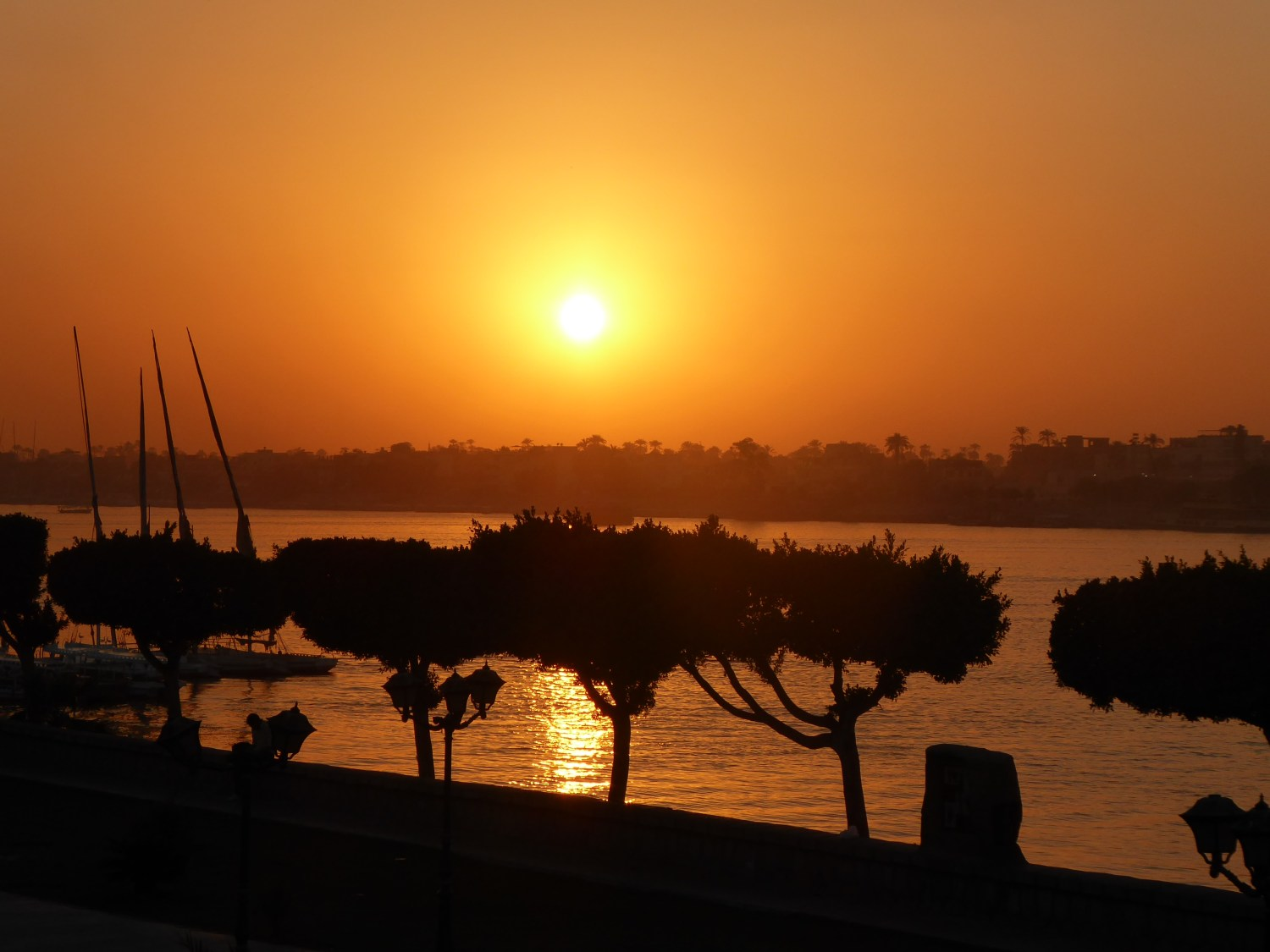 sunset over the nile in luxor, wgypt