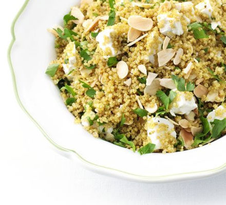 Spiced quinoa with almonds and feta