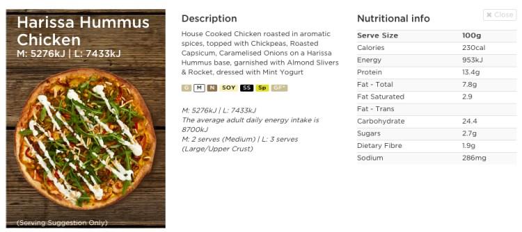 harissa hummus chicken crust pizza nutrition facts