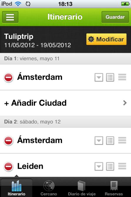 pantalla edición itinerario guía