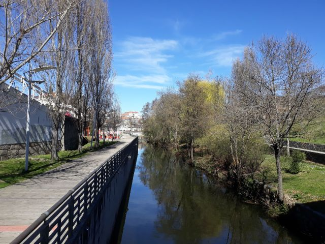 Walking along the river in the beautiful city of  Bragança in Portugal