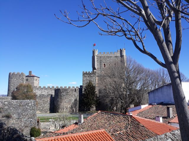 The view of the castle from the ramparts of the Old Citadel in  Bragança in Portugal