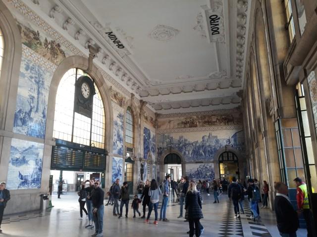 Inside the train station in Porto in Portugal