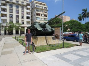 A birthday photo in front a tank that Castro fired from. Box ticked hahaha