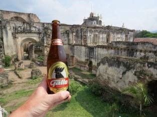 Local beer overlooking some ruins