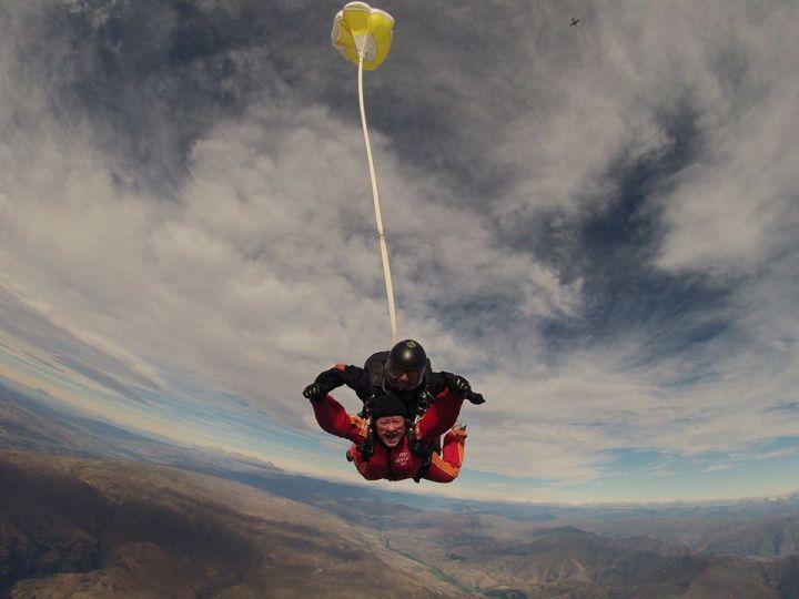 Suzie skydiving over lake wanaka